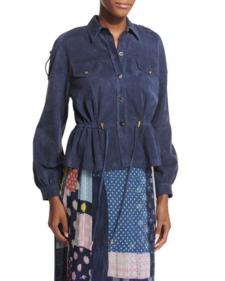 Diane von Furstenberg Frankie Suede Button-Front Jacket, Deep
