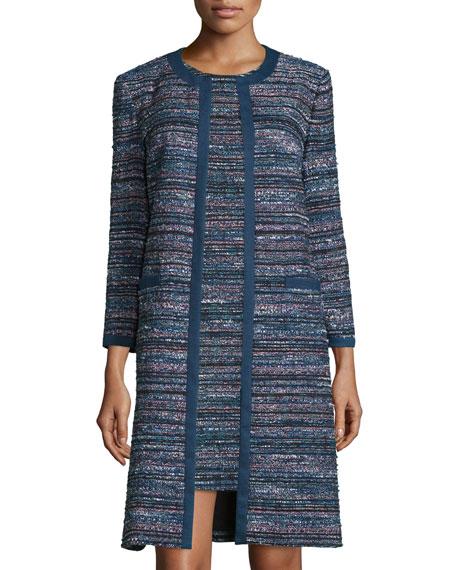 Diane von Furstenberg Nalda Tweed Open-Front Jacket, Black/Indigo/Camellia