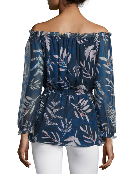 Camila Snake Leaves Silk Blouse, Indigo