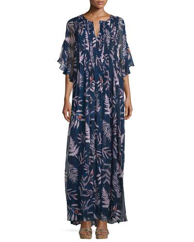 Holody Snake Leaves Maxi Dress, Indigo