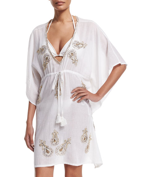Baha Mar Embroidered Caftan Coverup, White
