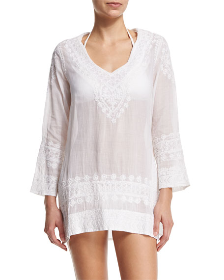 florabella Cap Cana Embroidered Tunic Coverup, White