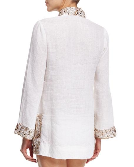 Viceroy Beaded Linen Short Coverup Tunic, White