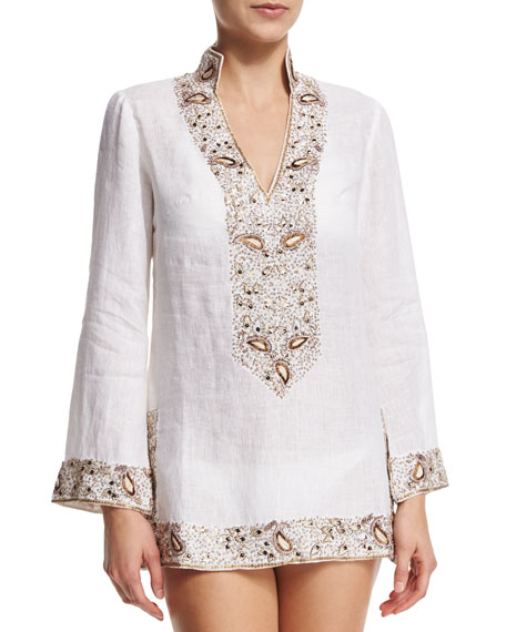 florabella Viceroy Beaded Linen Short Coverup Tunic, White