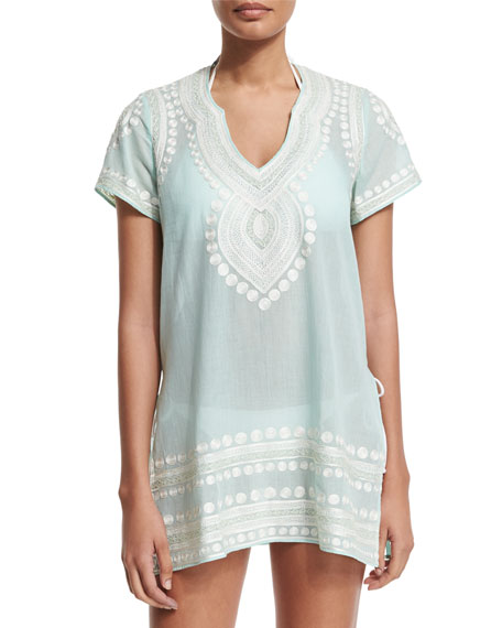 Evian Embroidered Short-Sleeve Coverup Tunic, Pool