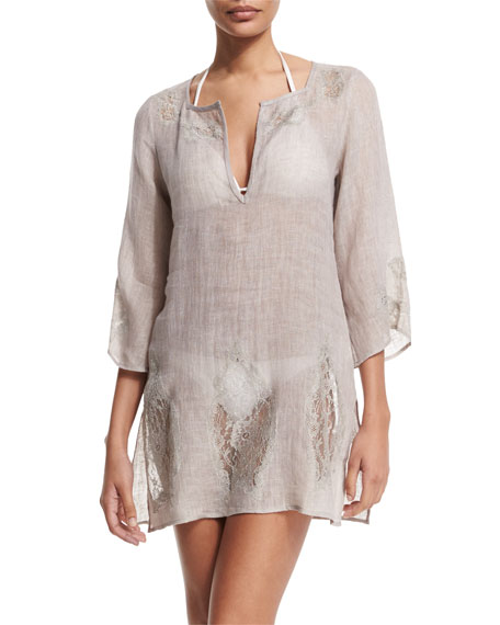 florabella Wynn 3/4-Sleeve Lace-Inset Tunic Coverup, Pechino