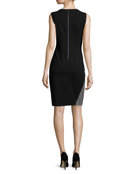 Carmen Sleeveless Two-Tone Sheath Dress, Black