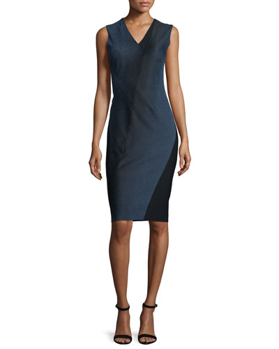 Elie Tahari Adine Sleeveless Degrade Jacquard Dress