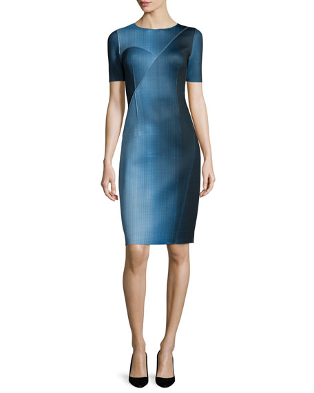 Elie Tahari Carmen Short-Sleeve Digital-Print Sheath Dress,