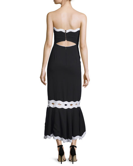 Strapless Crepe Midi Dress, Black