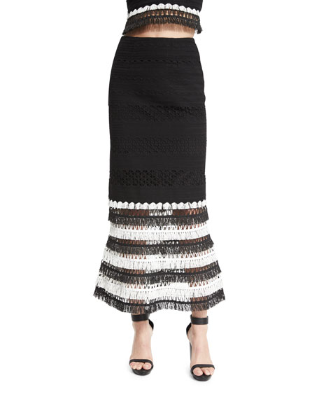 Jonathan Simkhai Macrame Trumpet Maxi Skirt, Black