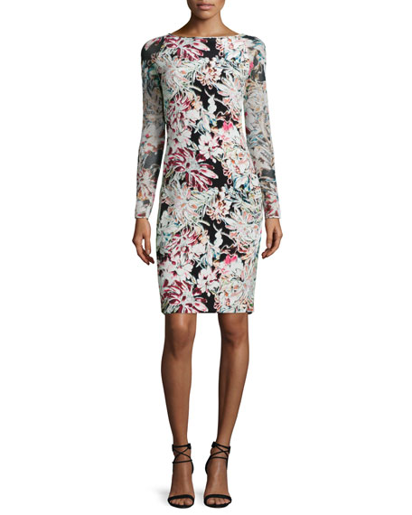 L'Agence Renee Long-Sleeve Floral Pencil Dress, Black/Multicolor