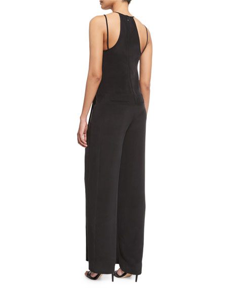 Poppy Double-Strap Silk Jumpsuit, Washed Black