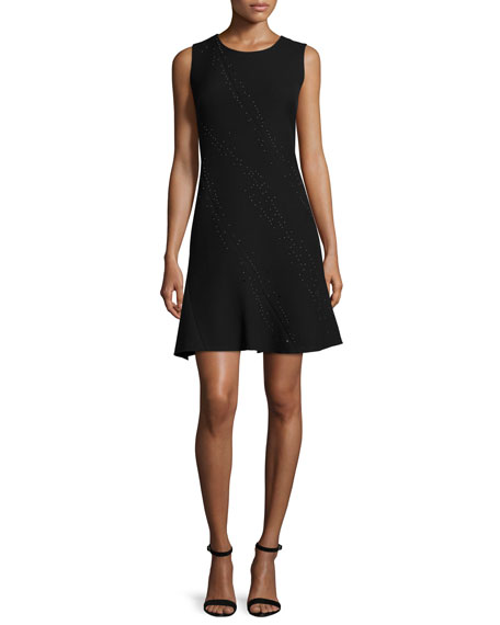 Elie Tahari Harlow Sleeveless Fit-&-Flare Dress, Black