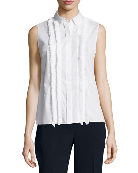Elie Tahari Sierra Sleeveless Top W/Fringe Trim, White