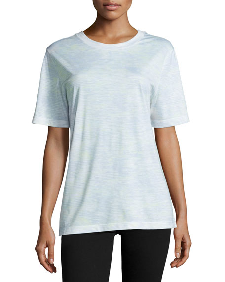 Short-Sleeve Abstract-Striped T-Shirt, Plexi/Light Celadon