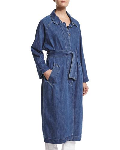 Long-Sleeve Belted Long Denim Coat, Stone Blue