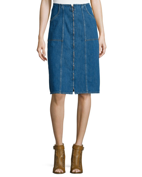 MiH Jolla Zip-Front Denim Skirt, Blue Chambray