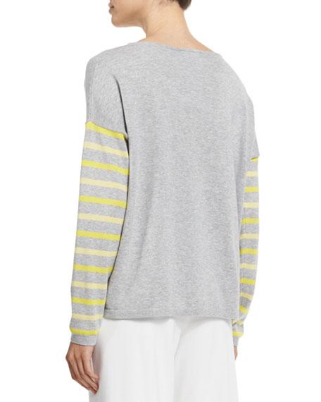 Rose/Striped Sweater, Plus Size