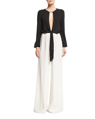Guilia Long-Sleeve Wide-Leg Jumpsuit, Black/White