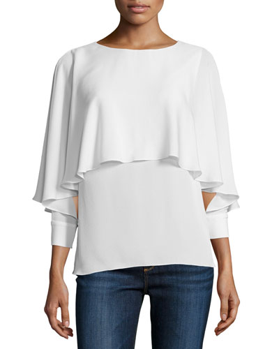 Reine 3/4-Sleeve Tiered Top, Ecru