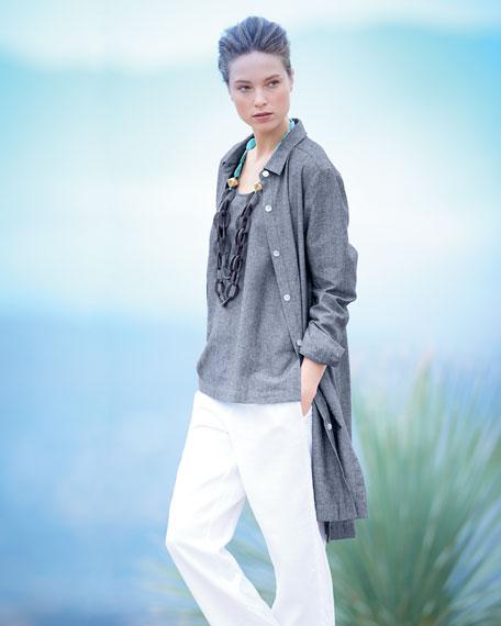 Long-Sleeve Cross-Dye Linen Duster Jacket, Plus Size