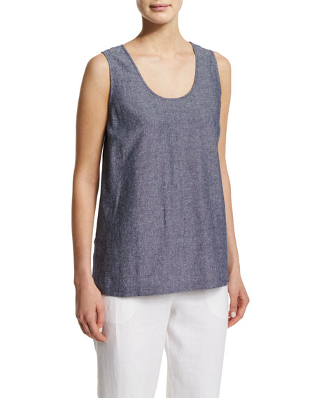 Sleeveless Cross-Dye Linen Tank, Plus Size
