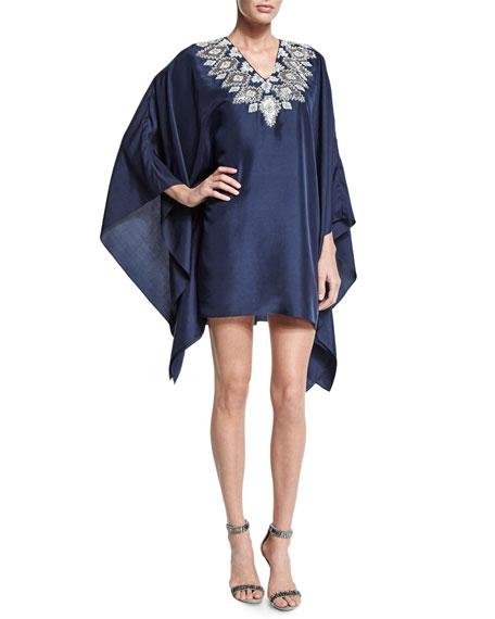 Badgley Mischka Long-Sleeve Embroidered-Neck Caftan Dress, Navy