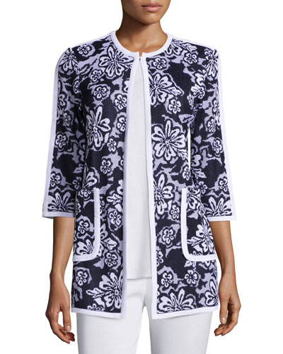 Floral-Print 3/4-Sleeve Jacket Online Cheap