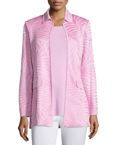 Long Textured Open-Front Jacket