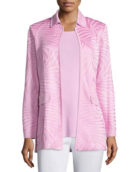 MisookLong Textured Open-Front Jacket, Petite