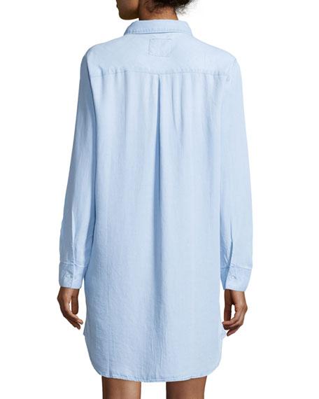 Sawyer Long-Sleeve Chambray Shirtdress, Light Vintage Wash