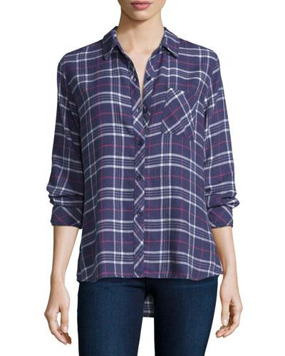 Danielle Button-Front Plaid Shirt, Dusk/Rose