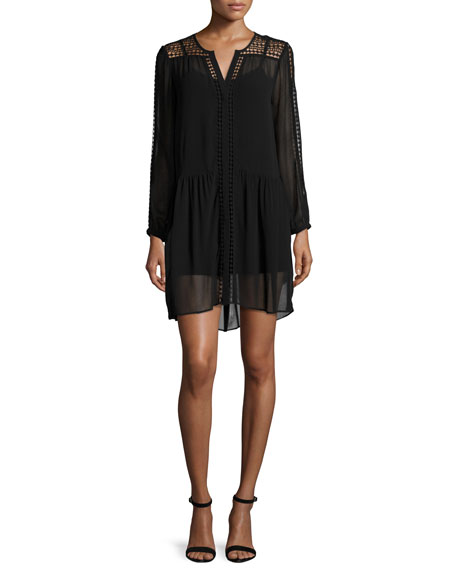 Joie Oshea Long-Sleeve Shift Dress, Caviar
