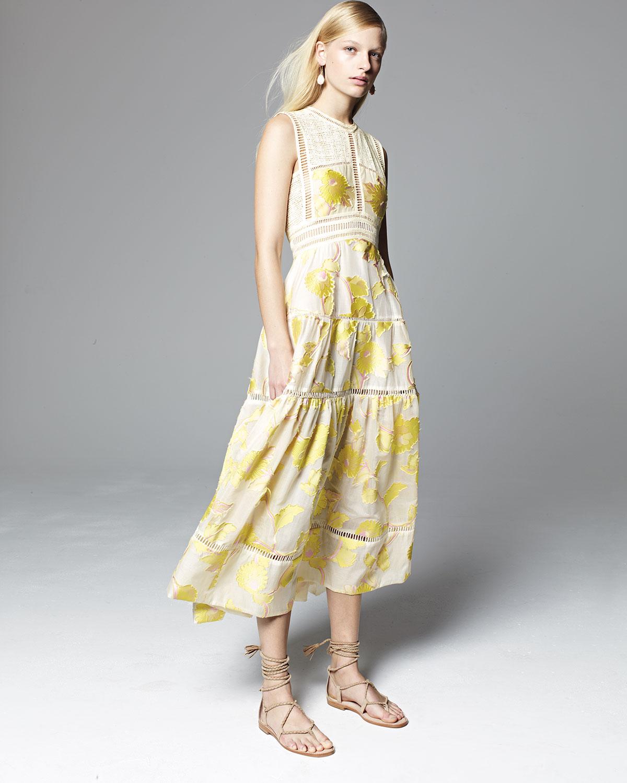 Rebecca Taylor Ella Sleeveless Floral Tea-Length Dress, Lemon ...