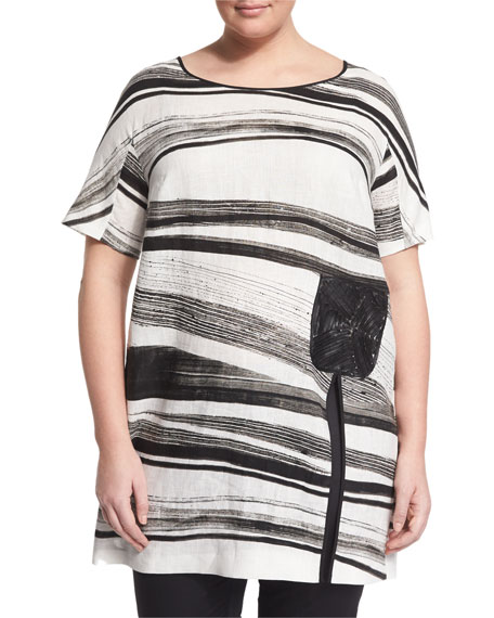 Faggio Short-Sleeve Striped Top, Plus Size