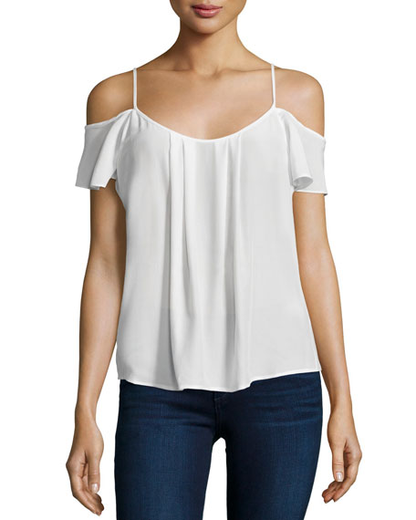 Joie Adorlee Cold-Shoulder Silk Top, Porcelain