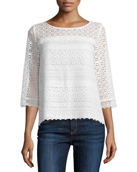 Joie Kyndra Embroidered Lace Top
