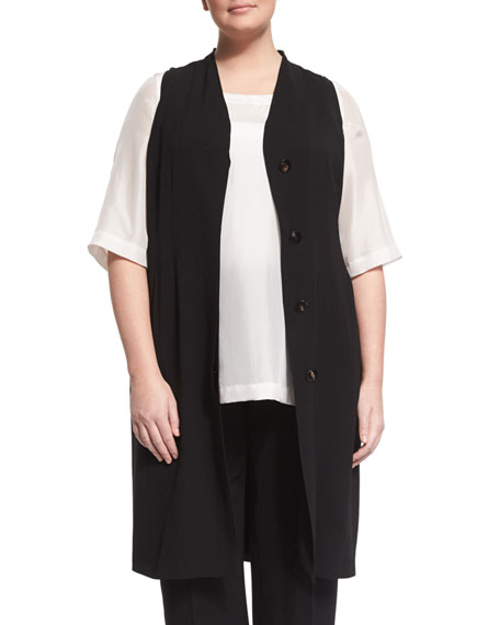 Ginseng Sleeveless Button-Front Waistcoat, Black, Plus Size