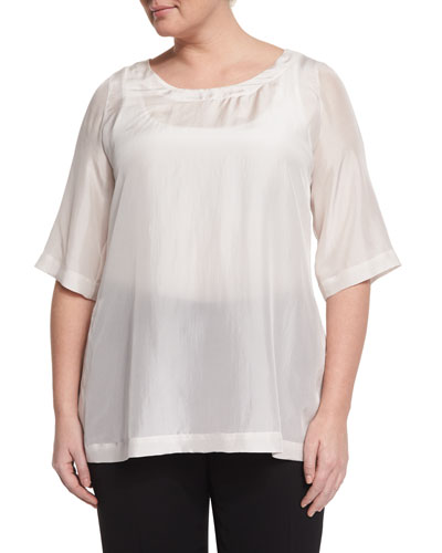 Beat 3/4-Sleeve Japonette Silk Top, Plus Size