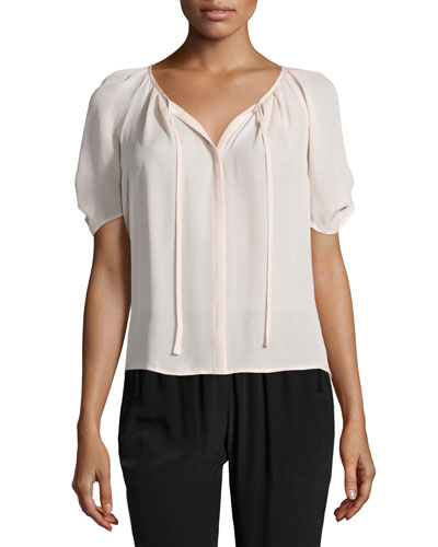 Joie Berkeley Pleated Silk Top