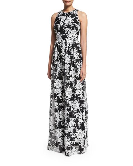 David Meister Sleeveless Crewneck Floral Chiffon Gown, Black/White