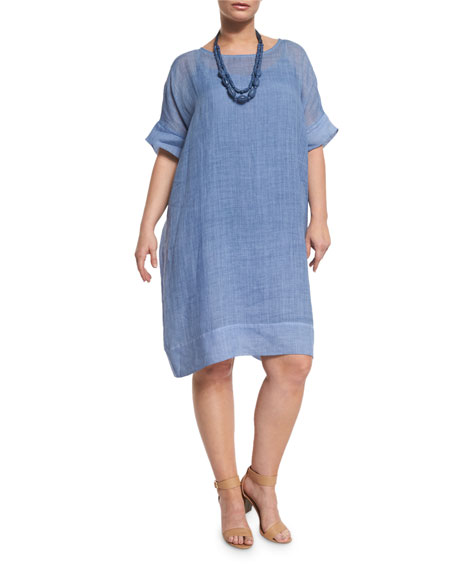 Marina RinaldiDistico Short-Sleeve Ramie Shift Dress, Plus Size