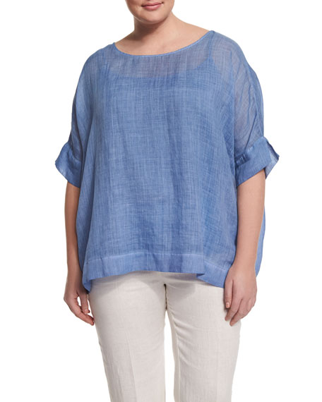 Marina Rinaldi Bernini Short-Sleeve Ramie Shirt, Plus Size