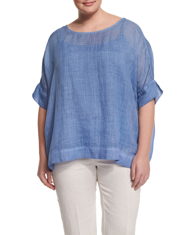 fda7b2b8851b7 Marina Rinaldi Bernini Short-Sleeve Ramie Shirt