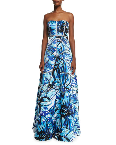 Strapless Floral-Print A-line Gown