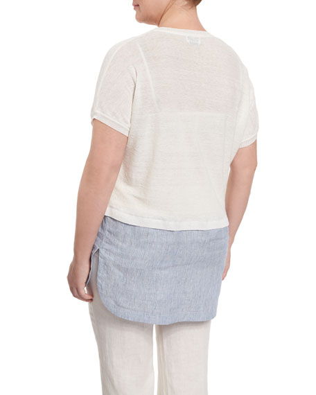 Short-Sleeve Tunic with Shirttail Hem, Plus Size