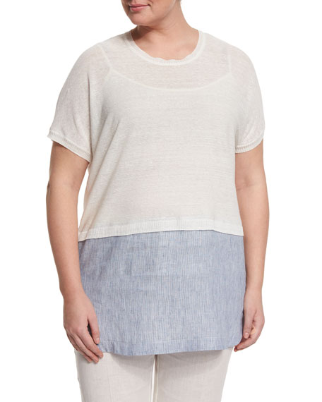 Marina Rinaldi Short-Sleeve Tunic with Shirttail Hem, Plus