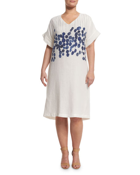 Marina Rinaldi Diretto Short-Sleeve Floral-Print Linen Dress,