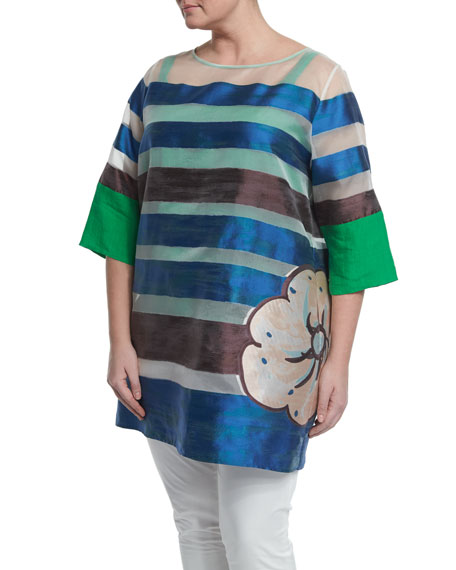 Marina Rinaldi Half-Sleeve Striped Floral Long Tunic, Women's